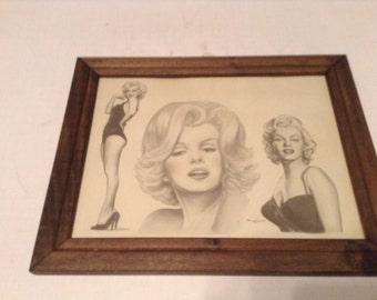 marilyn monroe hand drawn print michael irvin 1986 framed