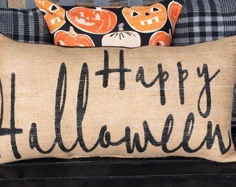 Happy Halloween Burlap Pillow