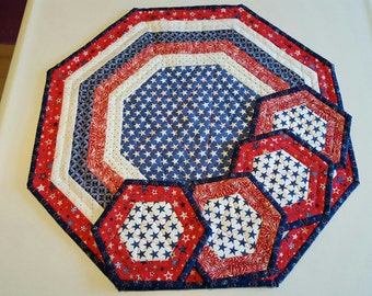 QUILTED Stars and Stripes AMERICANA PATRIOTIC Octagon table runner with 4 costers, candle mat for Patriotic Home Decor'  Sold as a set.
