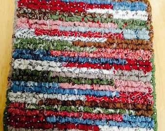Hand Made Pot Holder, 7.5 x 7 Inch Country Table Rug, Primitive Multi Colored Fabric Table Mat
