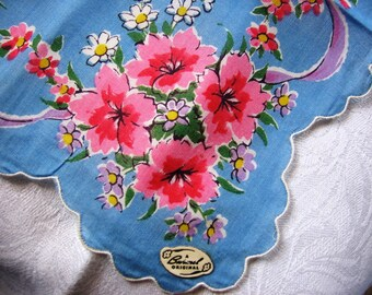 Vintage Burmel Handkerchief Cotton Print Pink and White Flowers Ribbons on Blue Background Purse Accessory Pristine Unused with Label