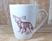 MISTAKE Mug, For Fox Sake Mug, GRAB Bag, DISCOUNTED Second, Snarky Humor Mug, Fox and Owl, 14 oz Coffee Cup, Porcelain Tea,  For Fucks Sake