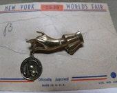 Art Deco 1939 New York World's Fair Pin Brooch on Original Card Ladies Hand w/ Charm
