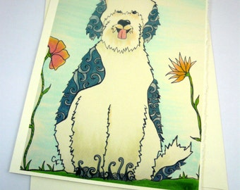 printed greeting card, colorful sheepdog design, blank inside Ivory card with deckle edge, envelope included.