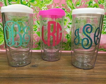 Monogrammed Clear Double Wall Tumbler