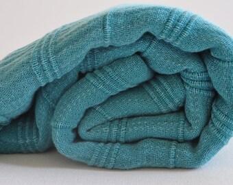 Turkish Towel Peshtemal towel Cotton Peshtemal Stone washed Towel in Teal color soft