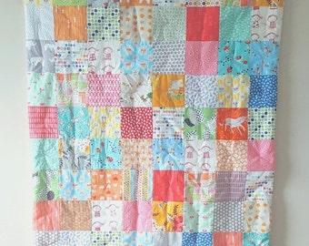 BACK 2 SCHOOL SALE Crib Quilt - Baby Quilt - Toddker Quilt - Modern Crib Quilt - Baby Comforter - Mint Quilt