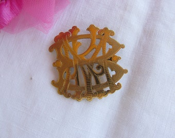 Initial brooch - Victorian - Gold Plate - Antique