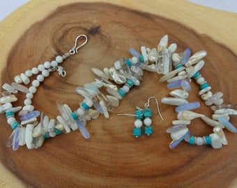 27 Inch Southwestern White, Cream, and  Turquoise Stick Bead Necklace with Earrings