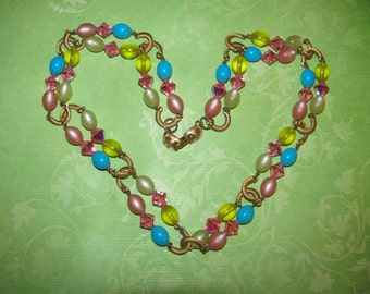 Vintage Pink Yellow and Blue Crystal Beaded Necklace