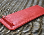 Leather Pencil Case With Your Letter - marlboro red, pen case, leather sleeve, leather pencil case, red pencil case