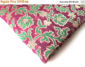 ON SALE green purple silk brocade flowers branches brocade India fabric nr 121 fat quarter