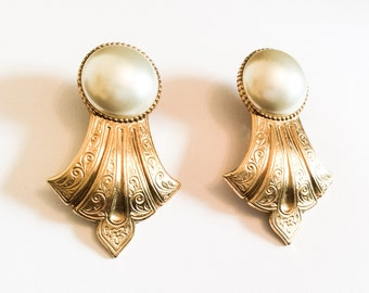 Baroque Pearl Earrings, Ben Amun Designer, Gold Tone, Vintage Jewelry, SUMMER SALE