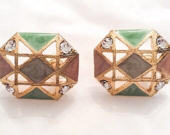 Enamel Rhinestone Earrings, Pale Peach with Green, Modernist, Gold Tone, Vintage Jewelry, SUMMER SALE