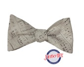 Music Note Bow Tie~Sheet Music Bow Tie~Mens Self Tie Bow Tie~Mens Pre-Tied~Anniversary Gift~HoBo Ties~Cotton Bow Tie~Wedding
