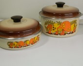 Two Vintage Merry Mushroom Pans with Lids