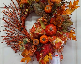 Fall Wreath,Pumpkin Grapevine Door Wreath,Thanksgiving Wall Decor,Fall Wall Decor,Grapevine Wreath,Happy Fall Wreath,Welcome Door Wreath