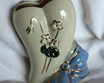 Vintage Heart Shaped, Wall Pocket, Vase, With Blue Bow, Flowers and Gold Trim, Made in USA