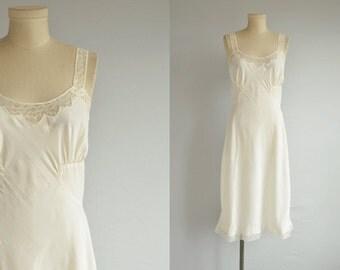 Vintage 50s Slip / 1950s Barbizon Bias Cut Cream Lace Applique Trim Full Slip / NOSWT