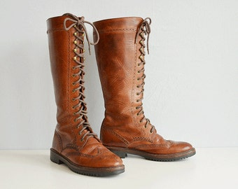 Vintage Cole Haan Boots / Womens 90s Brown Knee High Wing Tip Riding Boots Size 8 / Lace Up Knee Boots