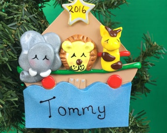 Unique Handcrafted Polymer Clay Personalized  Noah's Ark Christmas Ornament