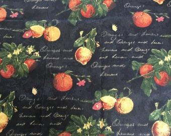 Waverly Village Citrus Grove Fabric 1 Yard Black With Yellow, Orange and Green b