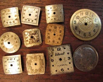 FREE SHIPPING - Group of 10 Vintage Watch Dials    Steampunk Jewelry Supplies,   Scrapbooking Altered Art Projects