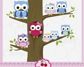 Happy family owls set,Sweet Owls,Owls family digital clip art AN053- for Personal and Commercial Use