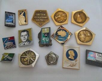set of cosmos pin badges - Soviet USSR space program - 15 pcs