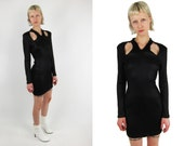 Reserved SALE %Vintage Ribbed Cut Out Bodycon Dress