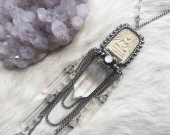 Vimana- quartz and Buddha tablet fringe necklace with rainbow moonstone