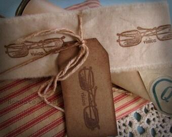 Vintage Inspired Glasses Hand Stamped Muslin Trim, Vintage Inspired Tag