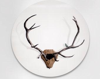 Deer Antler Illustration Infused on 20 inch Metal Circle
