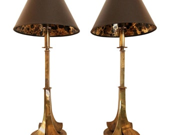 RARE Pair of All Original Vintage Aged Brass Table Lamps by Hart Associates