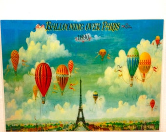 Paris art ballooning over Paris Wall Tile