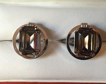Original Vintage DESTINO Sterling Silver and Quartz Topaz Cufflinks