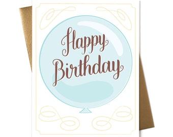 Happy Birthday Blue Balloon - Greeting Card