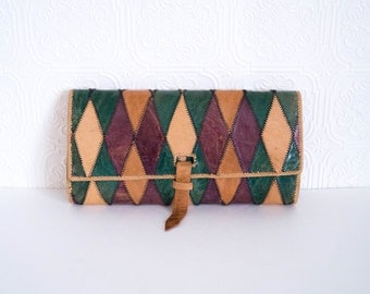 Vintage Leather Patchwork Clutch Purse 1970s