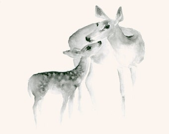 Watercolor Print Ghost Mother and Fawn II