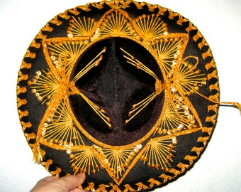 Vintage Pigalle xxxxx black and gold child size Sombrero