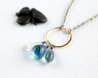 London Blue Topaz Moss Aquamarine Rainbow Moonstone Oxidized Sterling Silver Necklace
