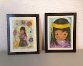 Vintage Degrazia Wall Hangings, Vintage Print, Native American, First Nations Children, Vintage Childrens Art, Vintage Print