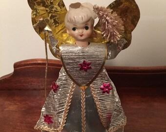 Vintage Christmas Holiday Gold Angel Porcelain Head Japan
