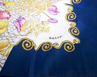 Vintage Authentic Bally Silk Crepe Scarf