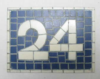 House Number Plate No. 24, Original French Blue and White Sign, Mosaic Signs, French Signs, French House Number Plate, Blue and White Signs