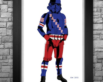 "STORMTROOPER ""New York Rangers (classic version)"" limited edition art print. Available in 3 sizes!"