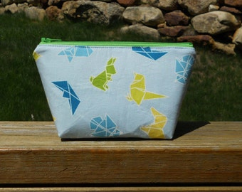 Extra Small Makeup Bag, Origami Animals with Green Zipper, One of a Kind