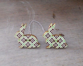 Sweater Pins, Rabbit Sweater Pins, Green Argyle Sweater Pins, Argyle Bunny Pins, Argyle Collar Pins, One of a Kind