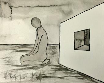 "Line Drawing Modern Landscape 9.5x11.75 ""Waiting"""