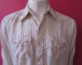 Mens LARGE cowboy shirt, Cow Hand, vintage, white and brown stripes, pearl snaps (645)
